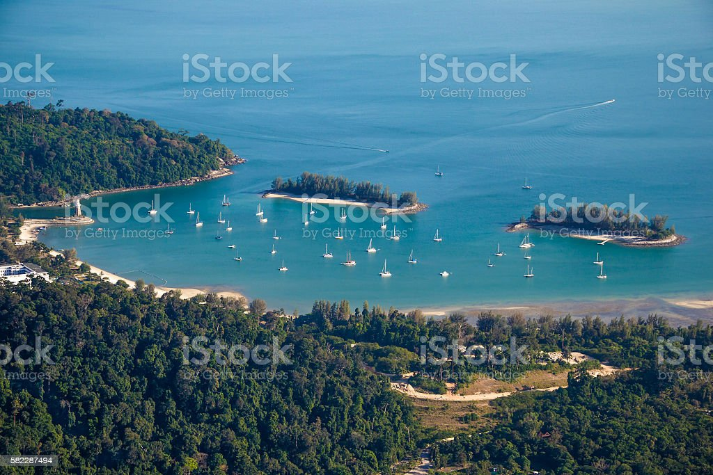 Langkawi landscape with yachts, top view stock photo