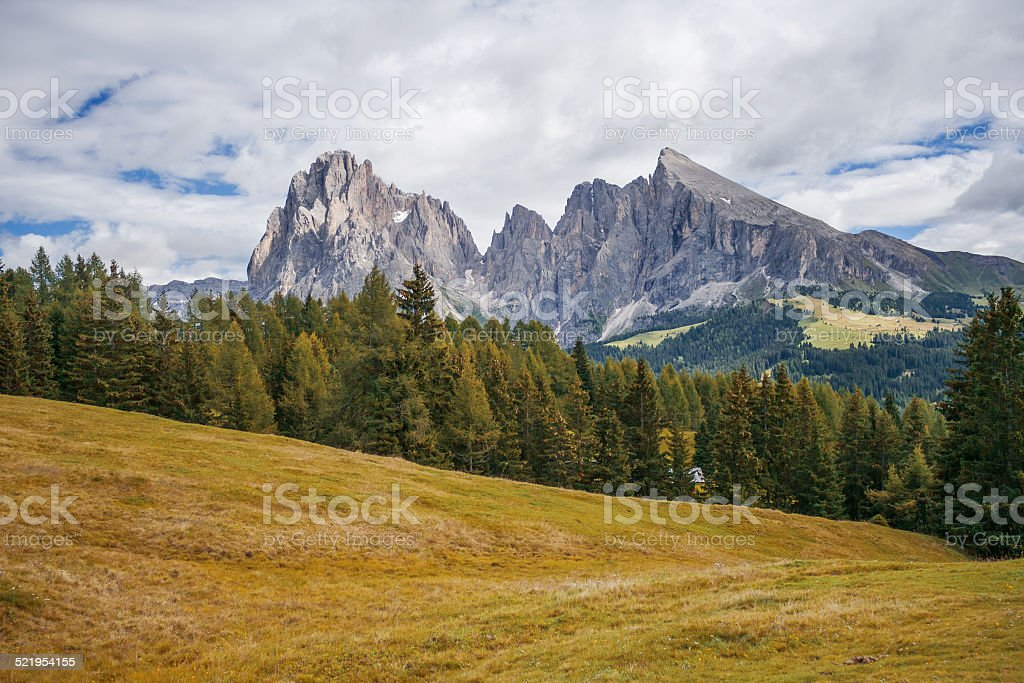 Langkofel and Alpe di Siusi stock photo