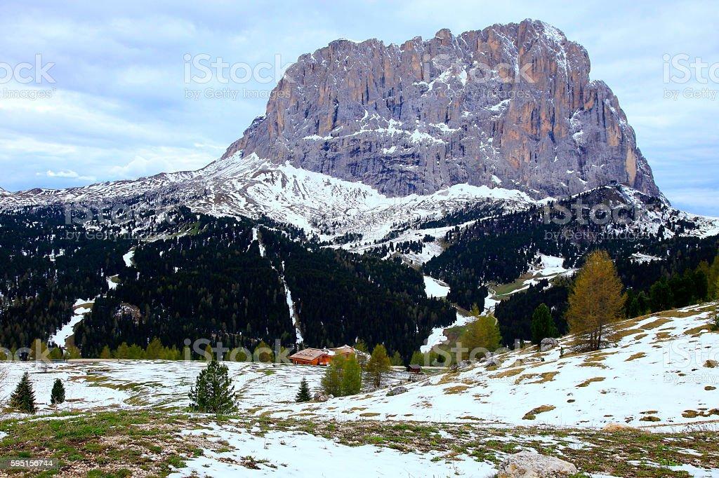 Langkofel, Dolomites sudtirol, Gardena Pass valley near Bolzano and Cortina stock photo