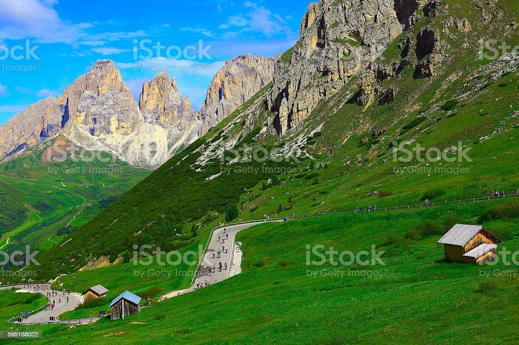 Langkofel, Dolomites sudtirol, Mountain bike cycling, Pordoi Pass near Cortina stock photo