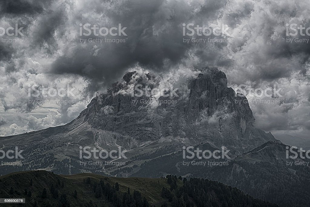 Langkofel in the clouds stock photo