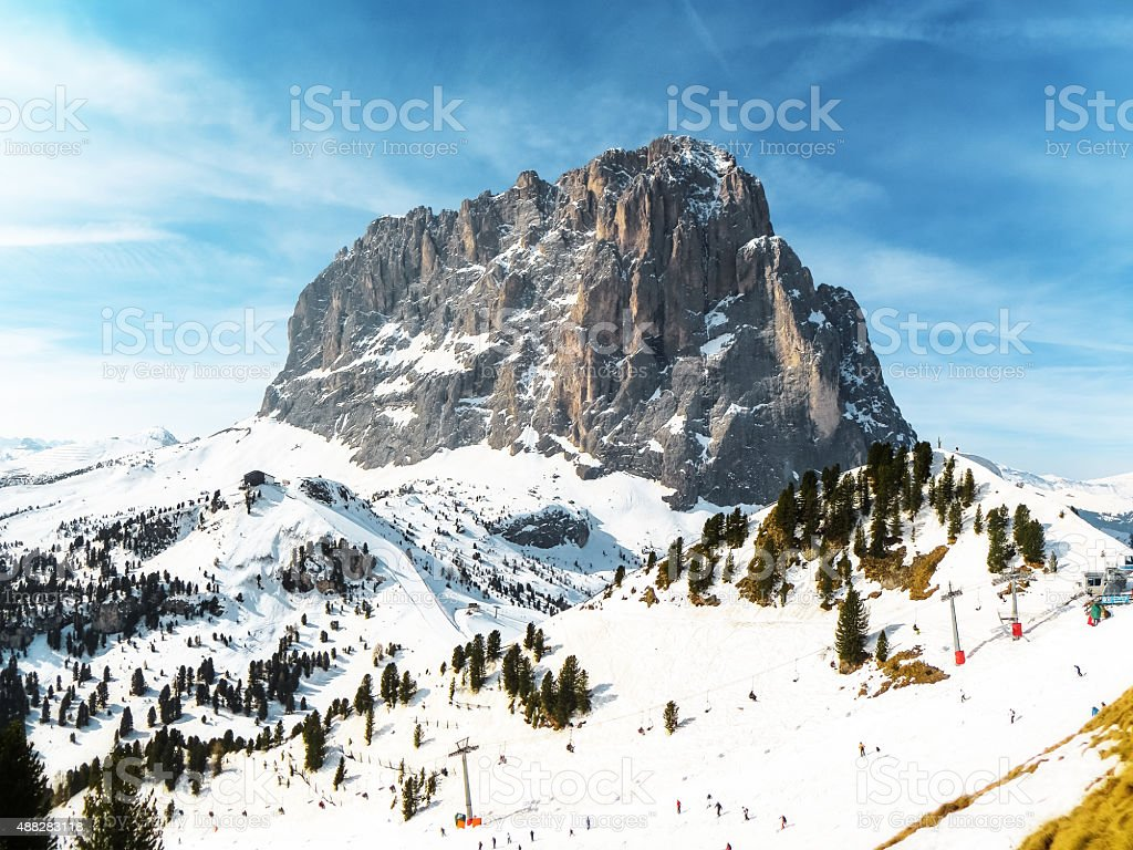 Langkofel Mountain in Dolomites, South Tyrol,  Italy stock photo