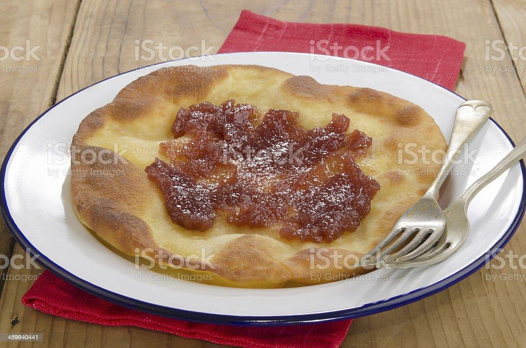 Langos, home made Hungarian pancake stock photo