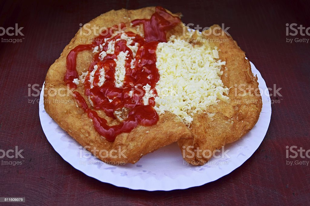 Langos - Hungarian food stock photo