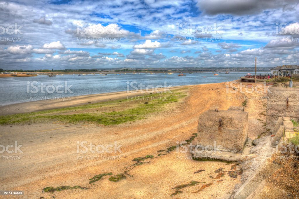 Langstone harbour Hayling Island near Portsmouth England UK in colourful hdr stock photo
