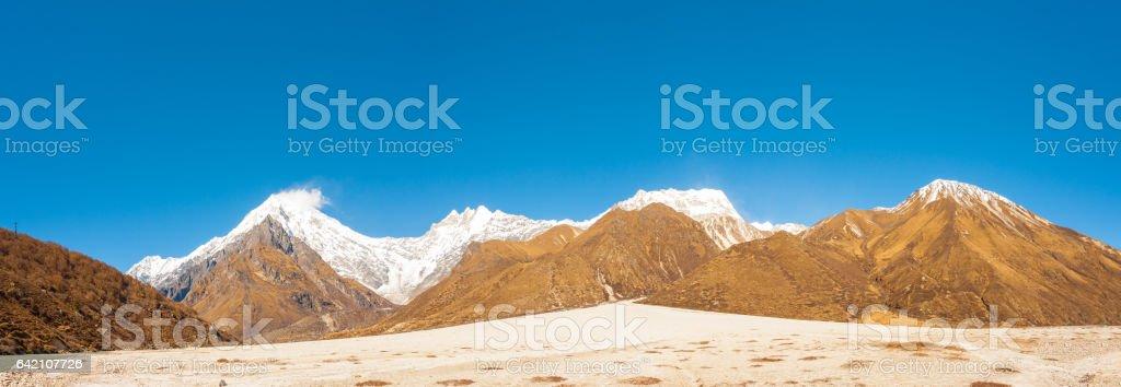 Langtang Mountain Range Panorama Lirung Peak stock photo