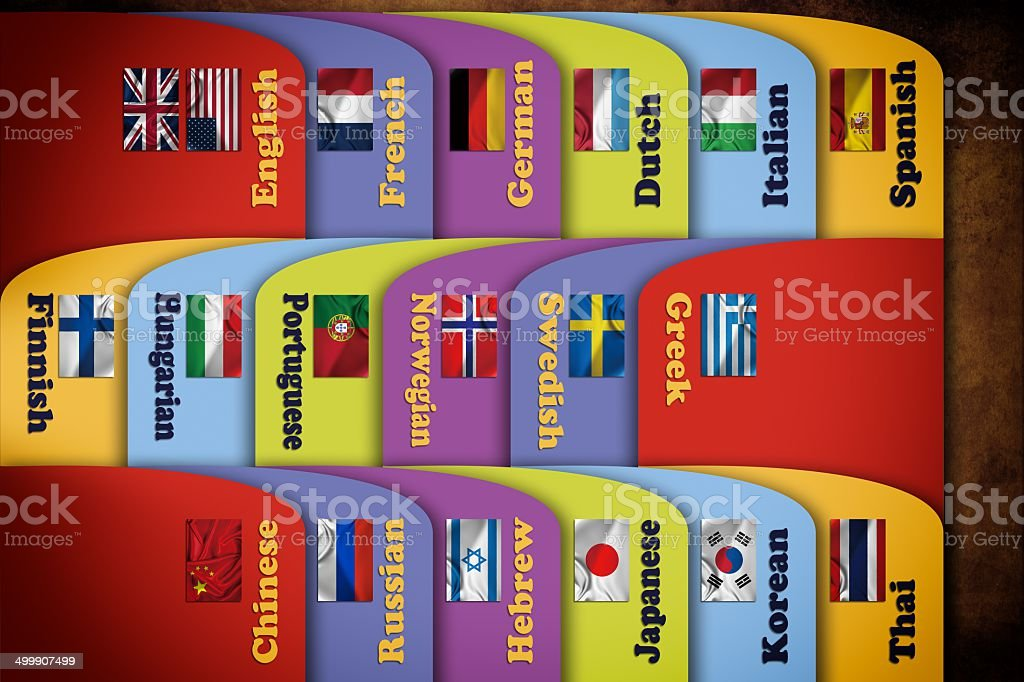 Languages Index Cards stock photo
