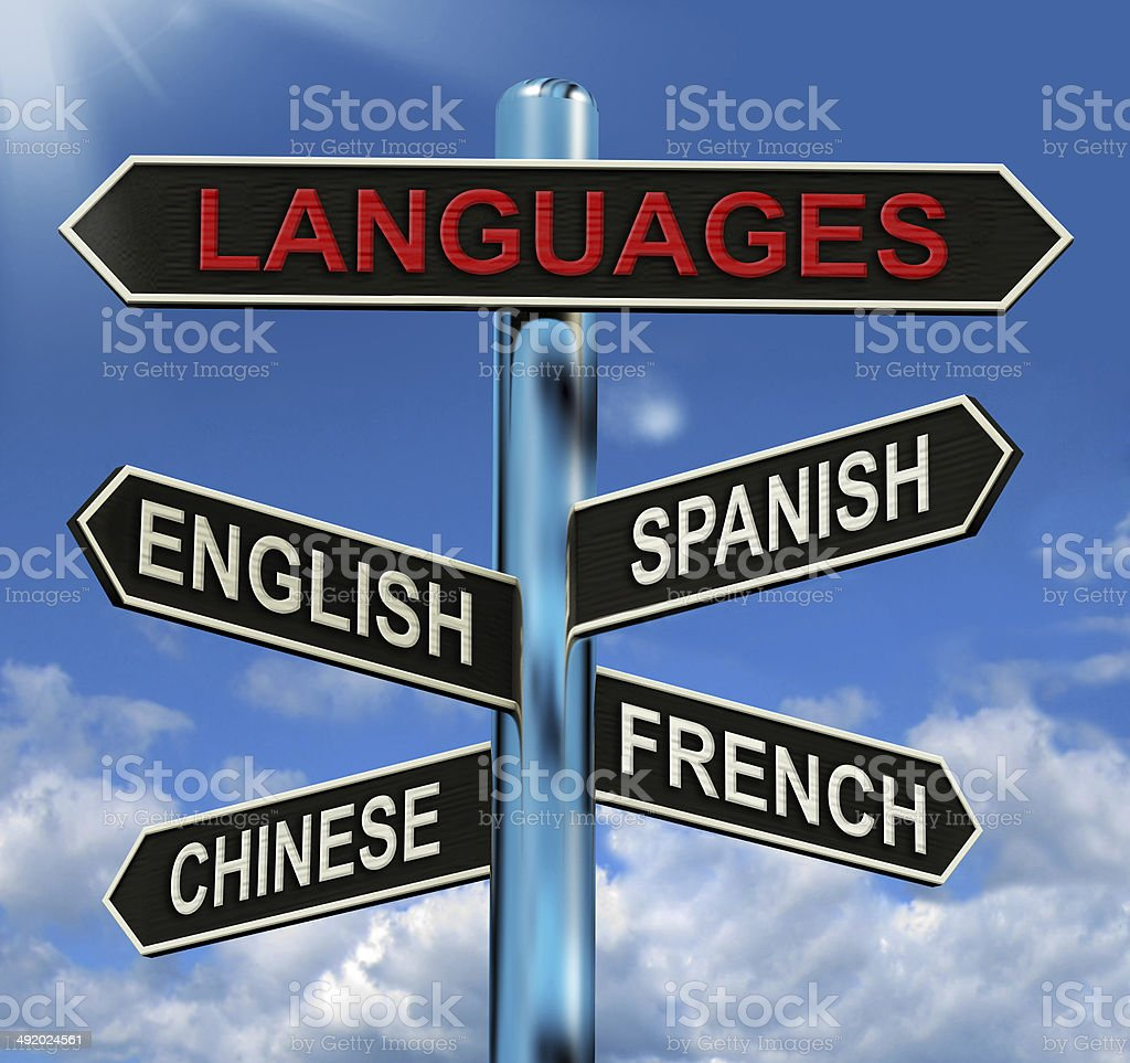 Languages Signpost Means English Chinese Spanish And French stock photo
