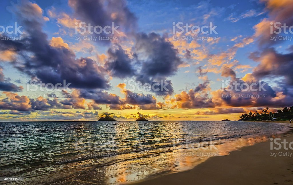 Lanikai Beach at dawan stock photo