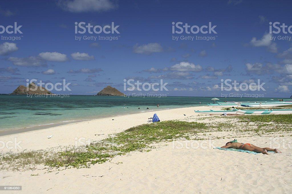 Lanikai beach Hawaii royalty-free stock photo