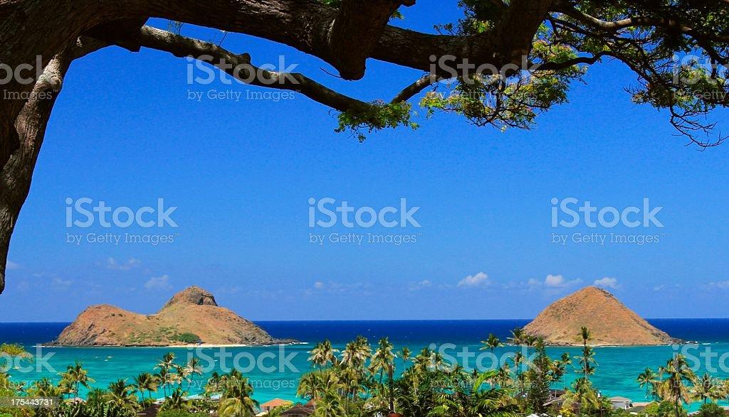 Lanikai beach Mokulua islands on Oahu Hawaii stock photo