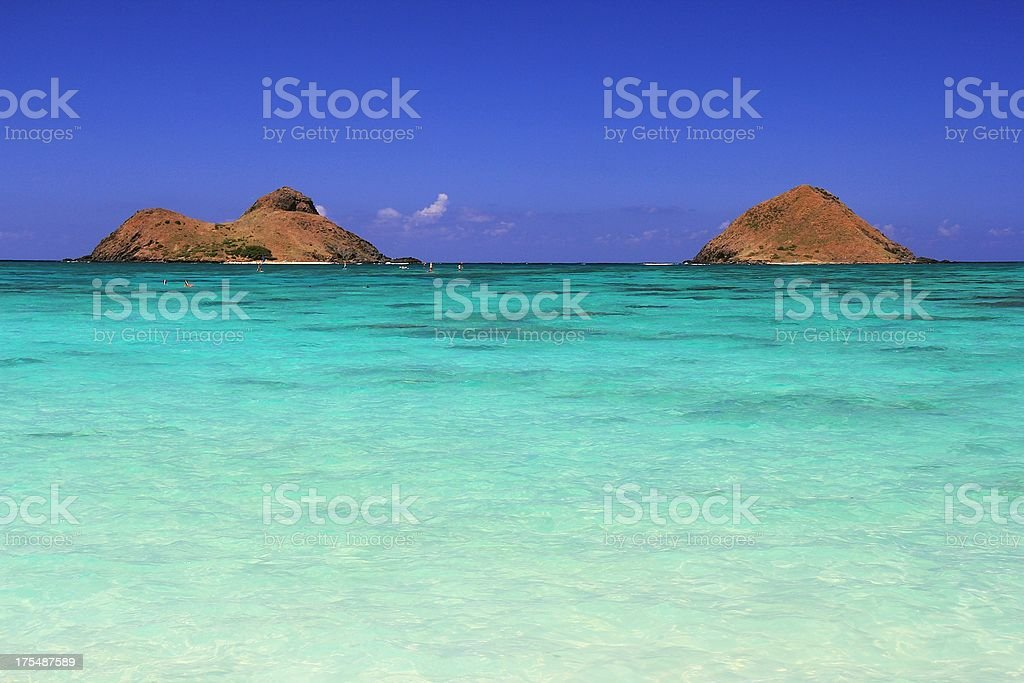 Lanikai beach Mokulua islands on Oahu Hawaii royalty-free stock photo