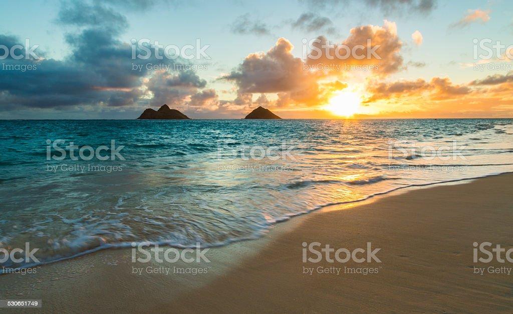Lanikai Beach Sunrise stock photo
