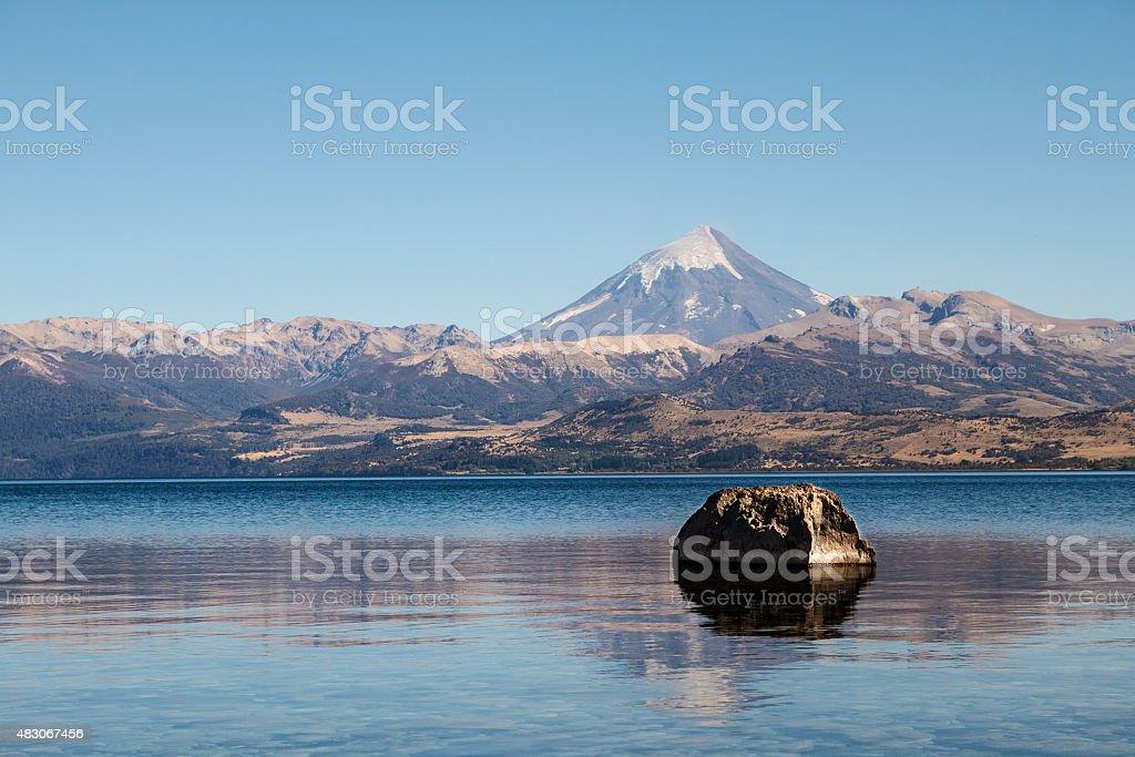 Lanin Volcano, reflection stock photo