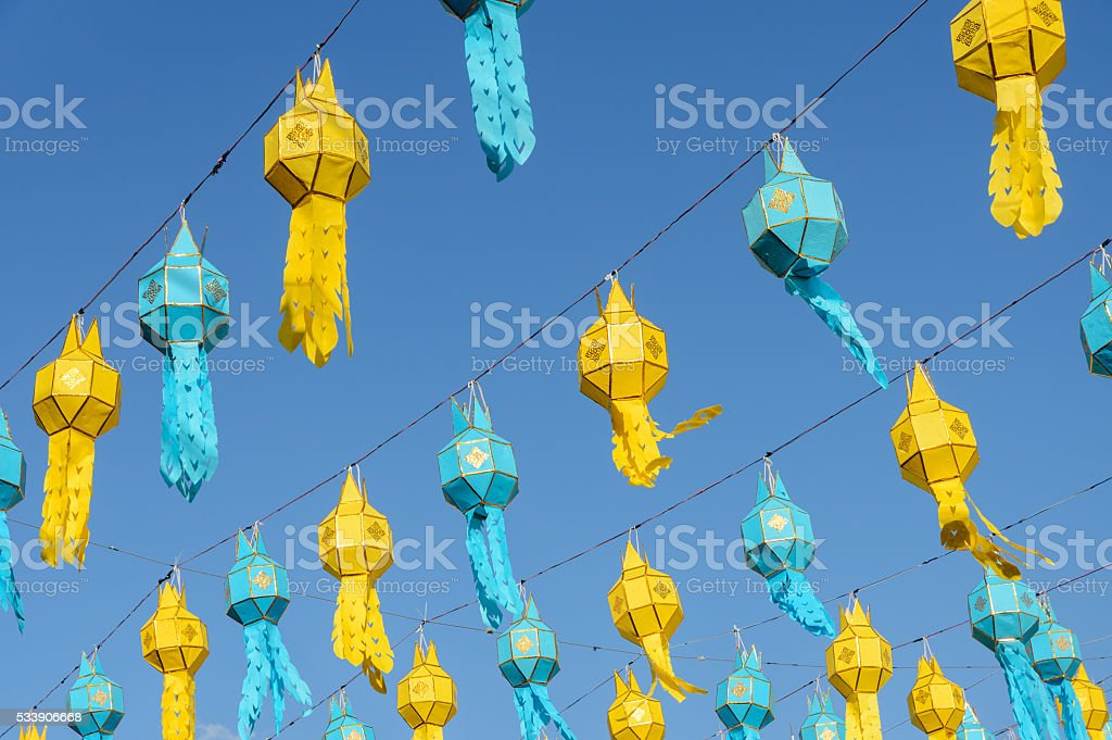 Lanna paper lantern in Thailand stock photo