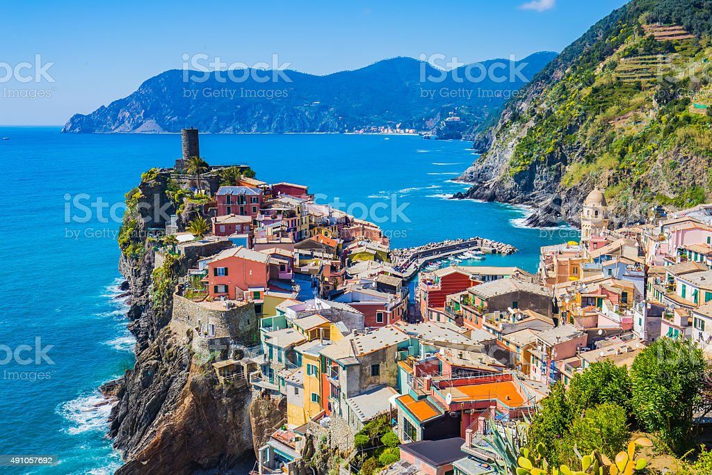 Lanscape of Vernazza in Cinque Terre, Italy stock photo