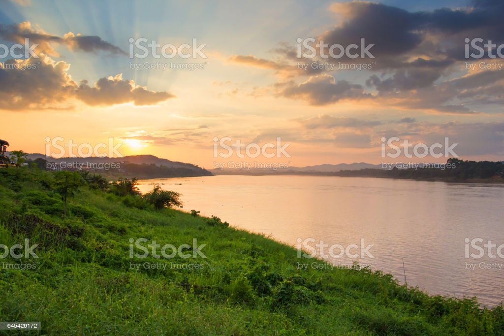 Lanscape view of sunset at Khong river stock photo