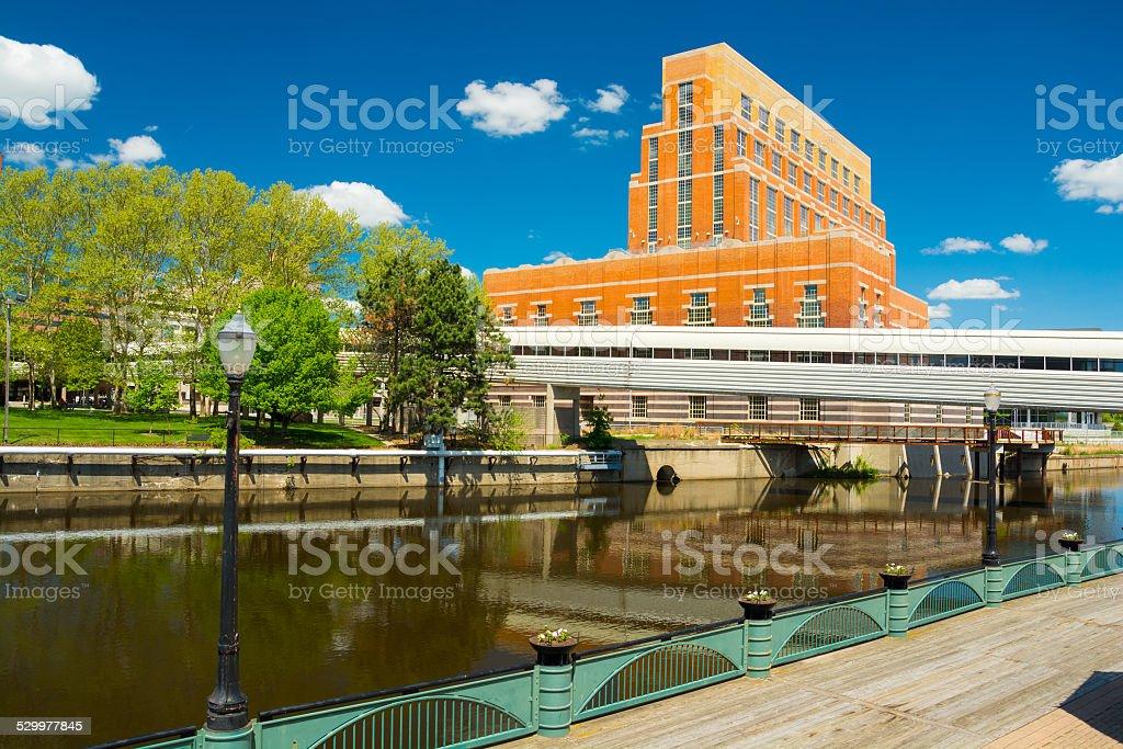 Lansing downtown riverbank scene stock photo