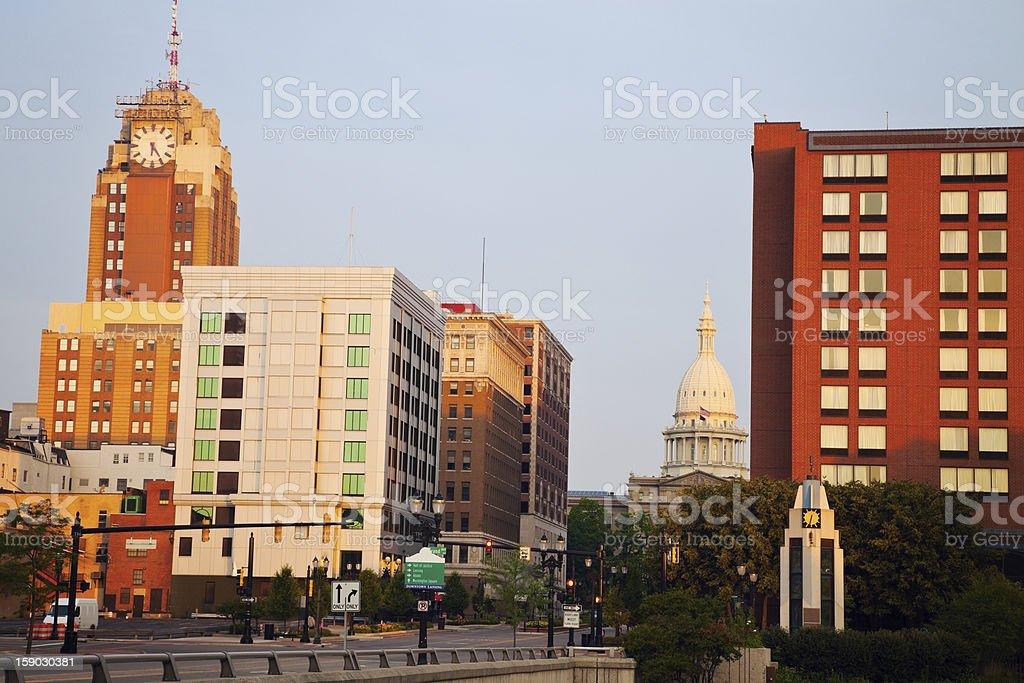 Lansing, Michigan at sunrise stock photo
