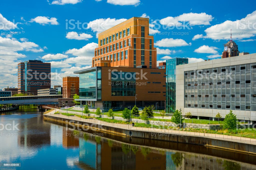 Lansing, Michigan Downtown Skyline Buildings with River stock photo