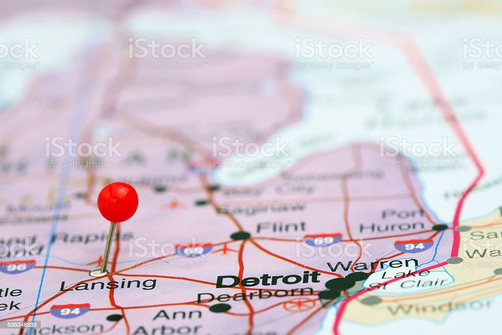 Lansing pinned on a map of USA stock photo
