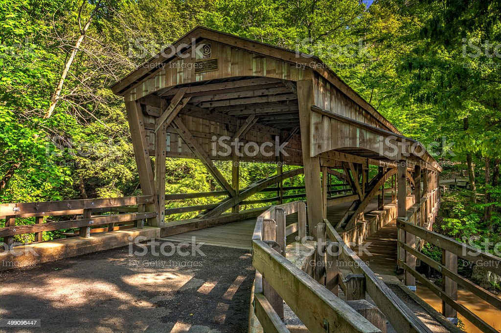 Lanterman Falls Covered Bridge stock photo