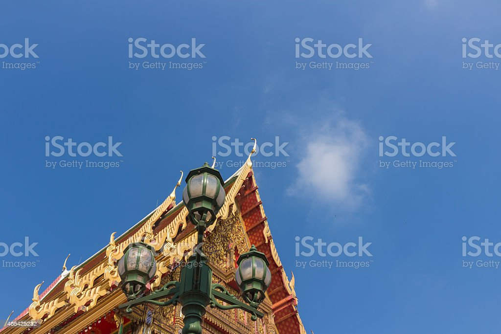 lantern and the gable apex with small bell stock photo