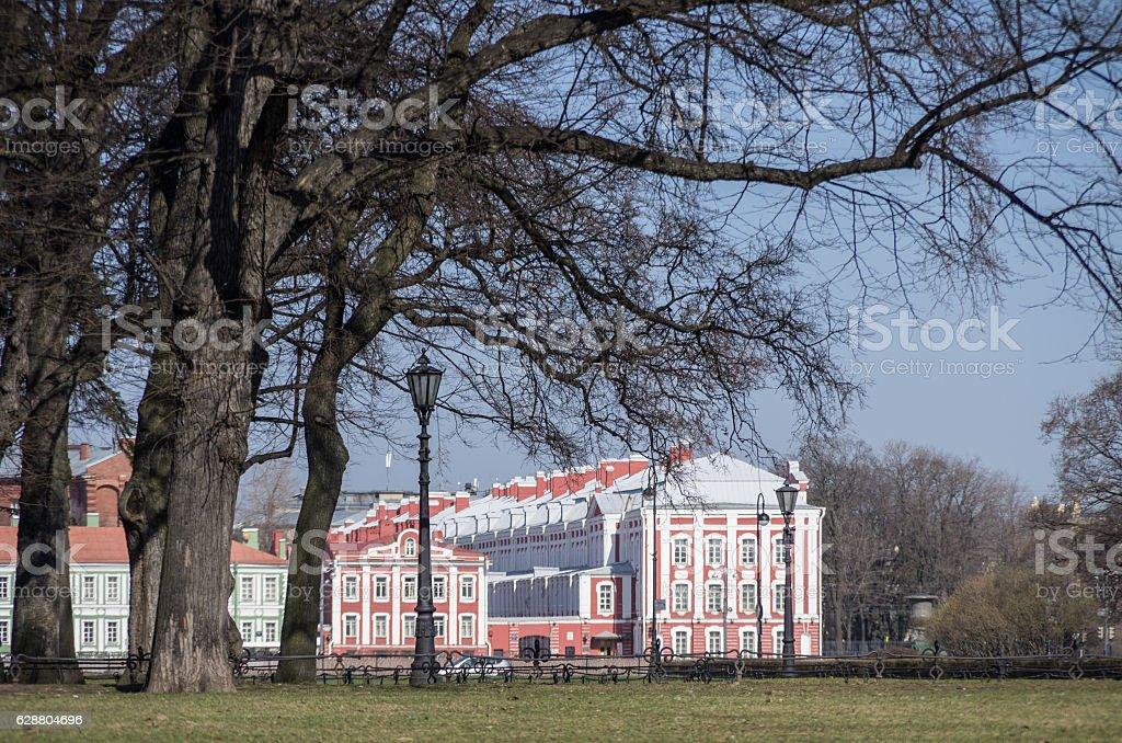 Lantern and trees in Alexandrovsky garden in Saint Petersburg stock photo