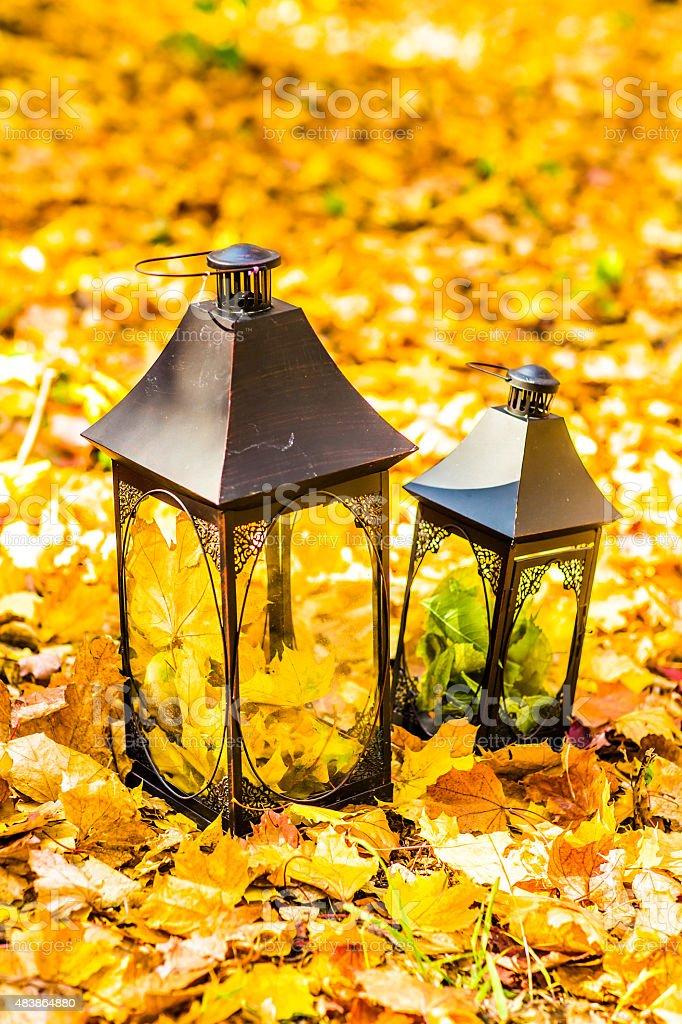 Lantern in an autumn leaves stock photo