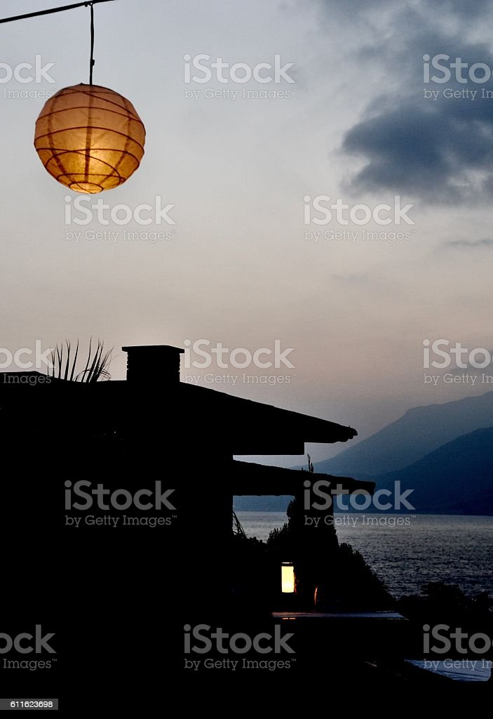 Lantern in Mediterranean Dusk stock photo