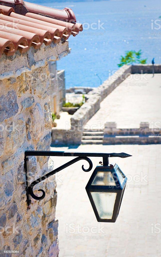Lantern in the Citadel of Budva, Montenegro stock photo