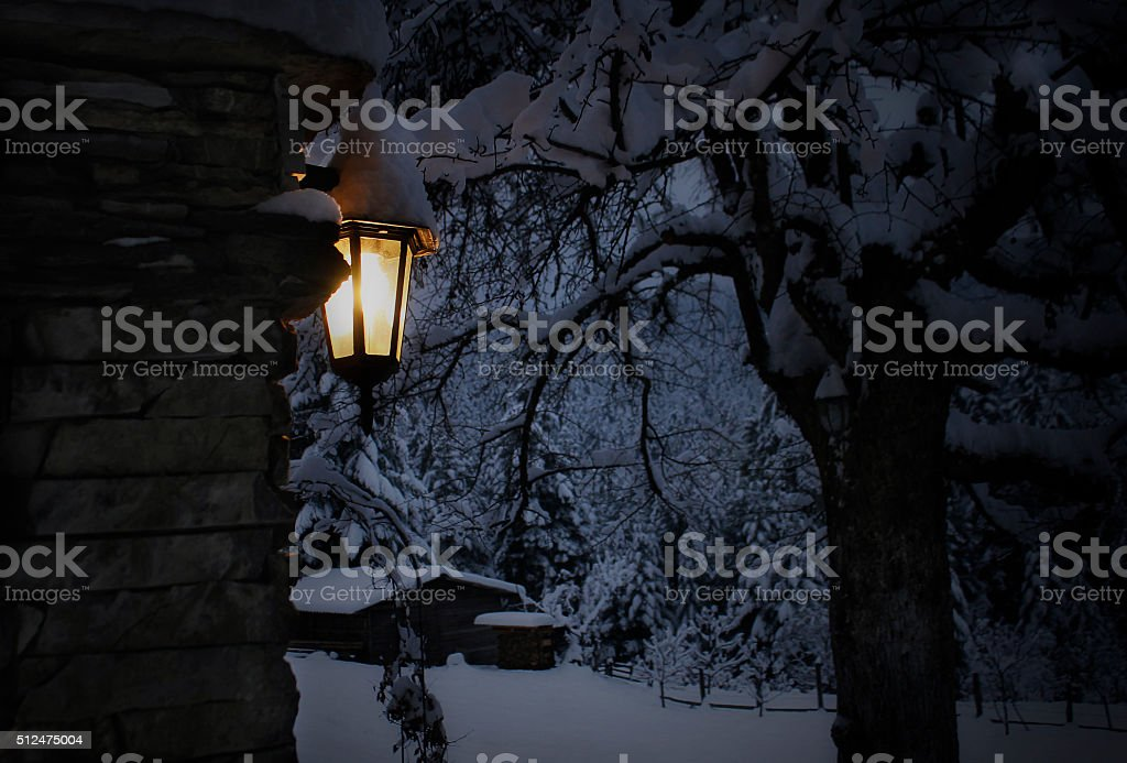 Lantern in Winter Night stock photo