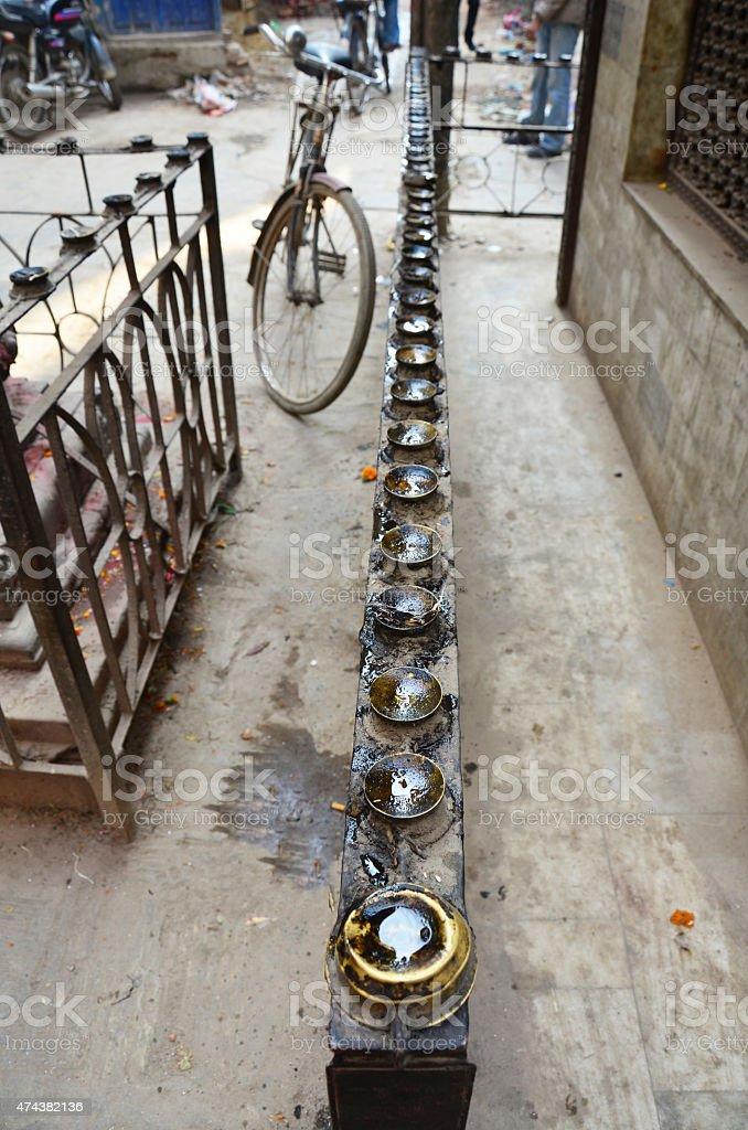 Lantern install around small god house for pray stock photo