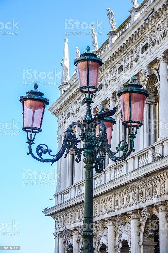 Lantern on St Marks square Venice Lizenzfreies stock-foto