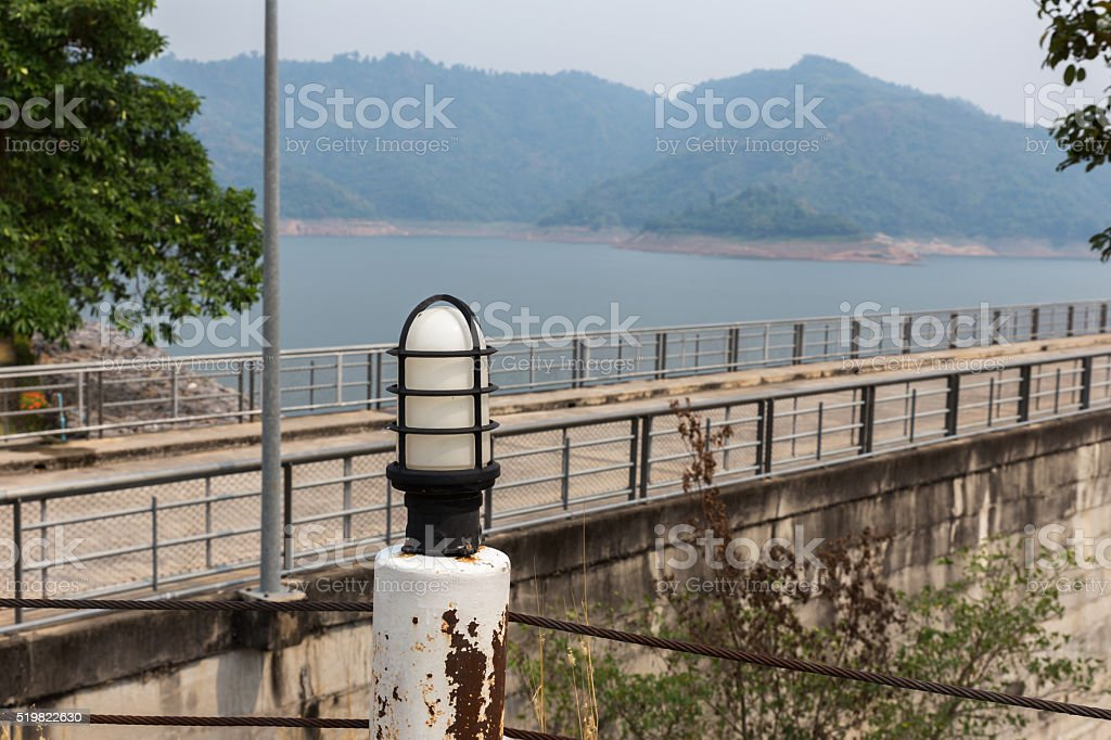 lantern on the Prakarnchon Khun Dan dam stock photo
