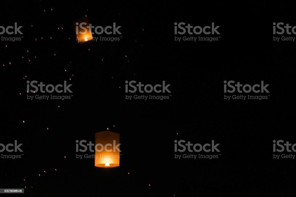 Lantern release during Yi Peng in Chiang Mai stock photo