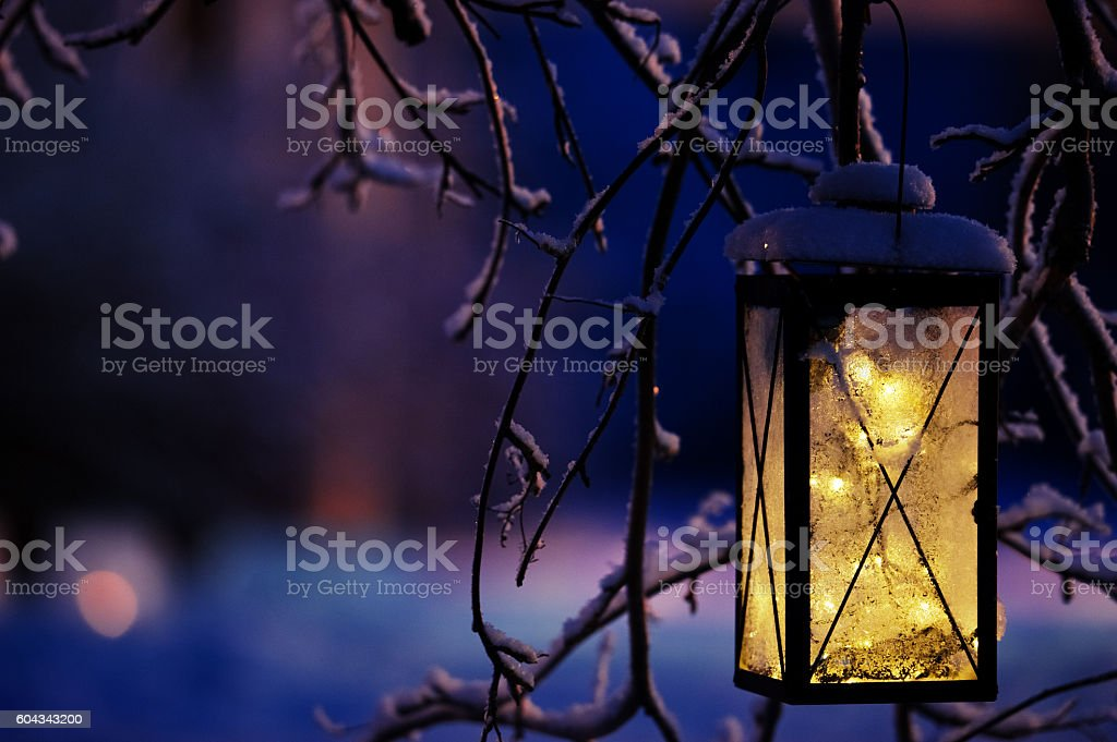 Lantern with Christmas lights stock photo