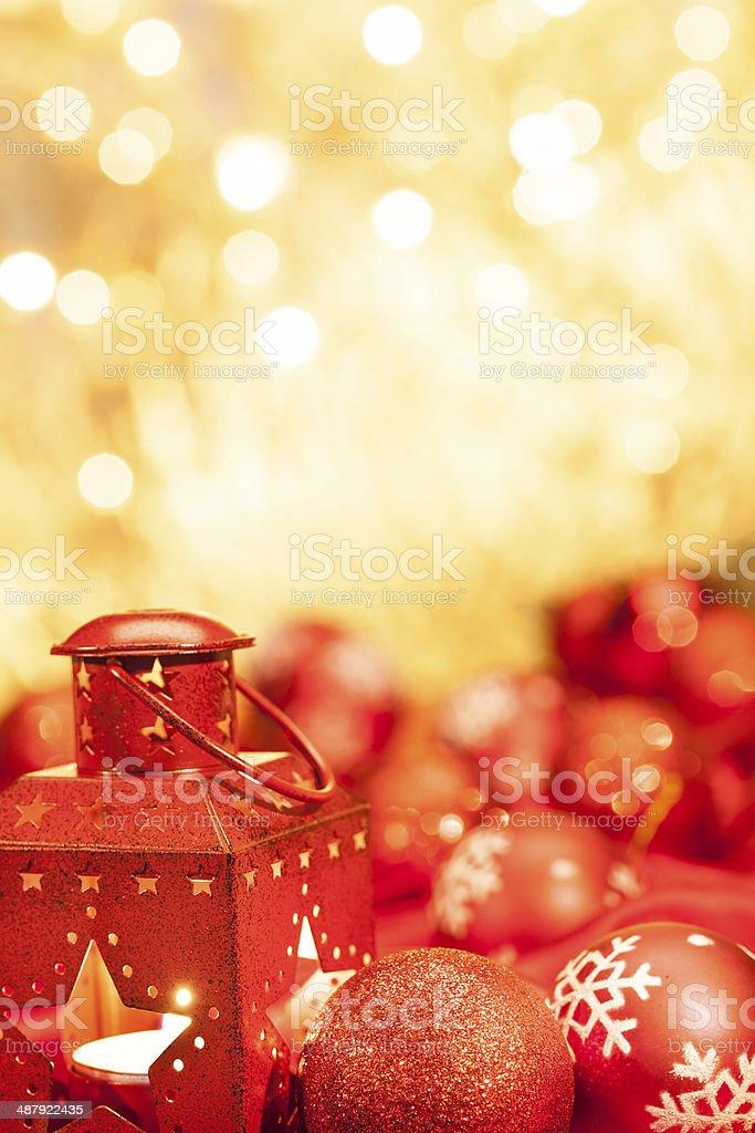 Faroles y christamas pelotas foto de stock libre de derechos