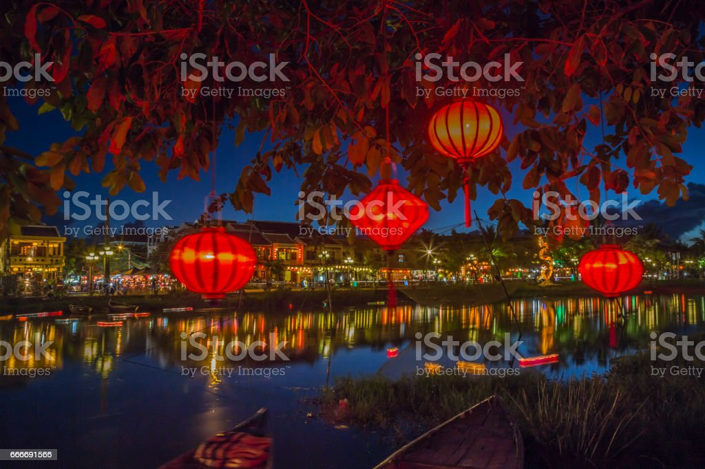 Lanterns and colorful lights on river in Hoi An, Vietnam stock photo