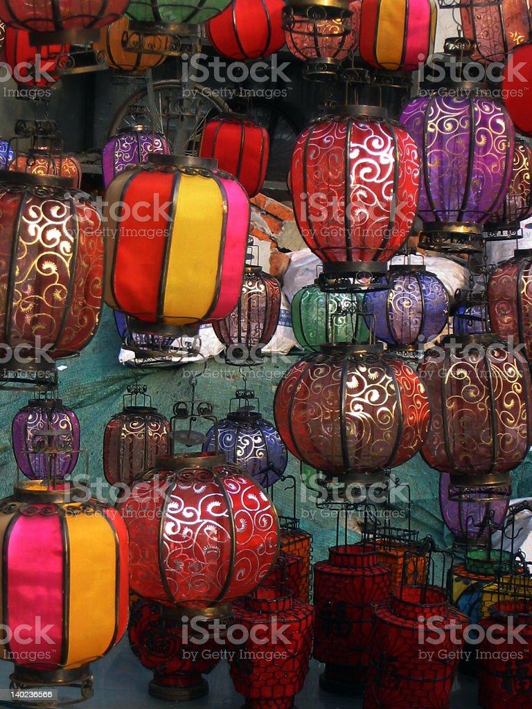 Lanterns at a Market stock photo