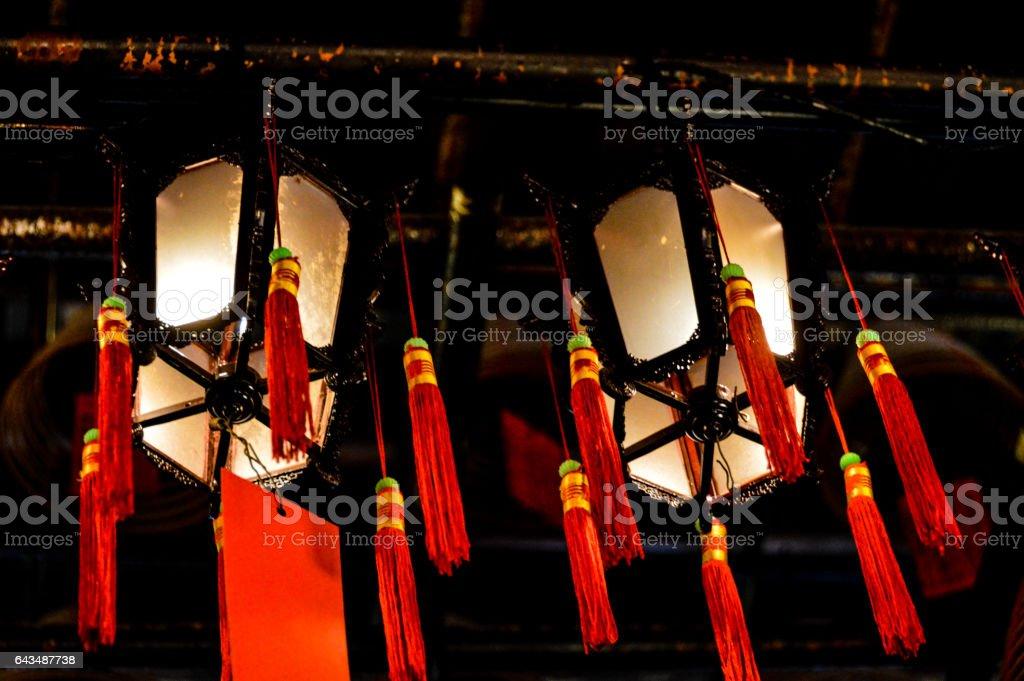 Lanterns at the Man Mo Temple in Hong Kong stock photo