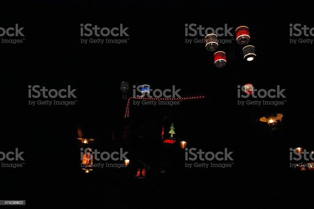 Lanterns durante a noite foto de stock royalty-free