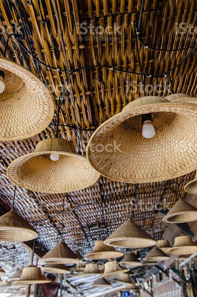 Lanterns hang from handicrafts stock photo