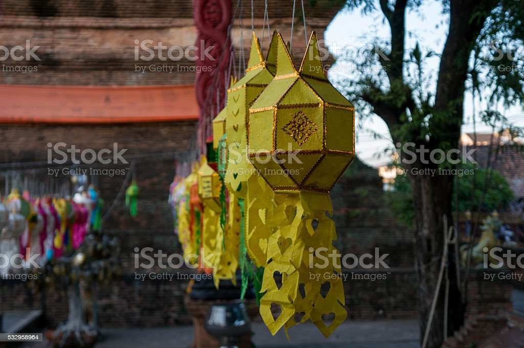 Lanterns hang in front of a temple in Chiang Mai stock photo