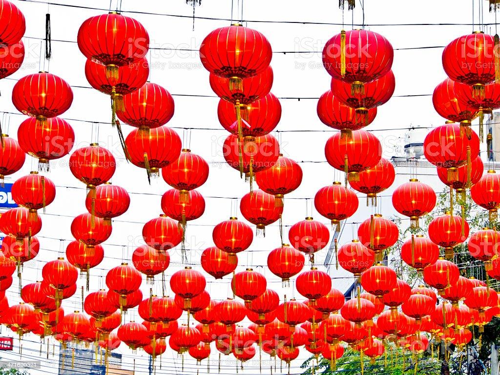 Lanterns hanging at Yaowarat Thailand stock photo