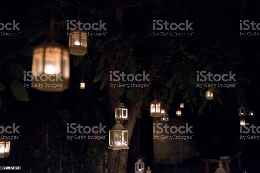 Lanterns in oak forest at night stock photo