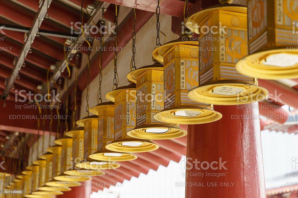 Lanterns in Shitennoji Temple in Osaka, Japan stock photo