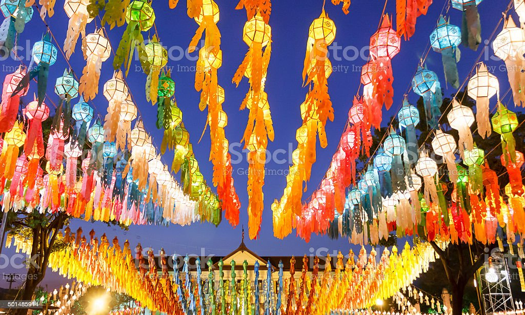 Lanterns in Yee-peng festival ,ChiangMai Thailand stock photo