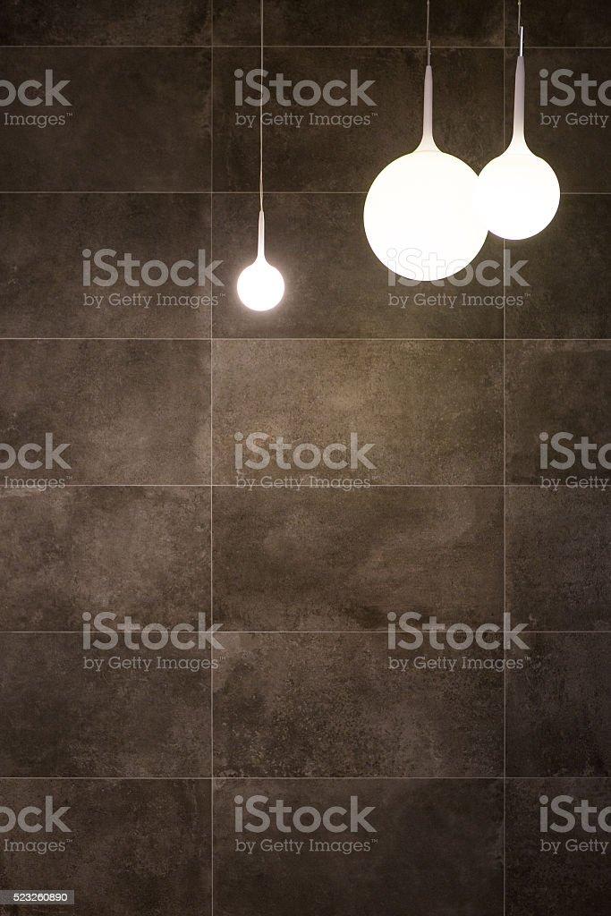 Lanterns on grey background stock photo