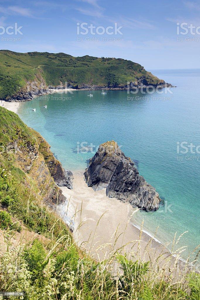 Lantic Bay Cornwall England beautiful Cornish beach stock photo